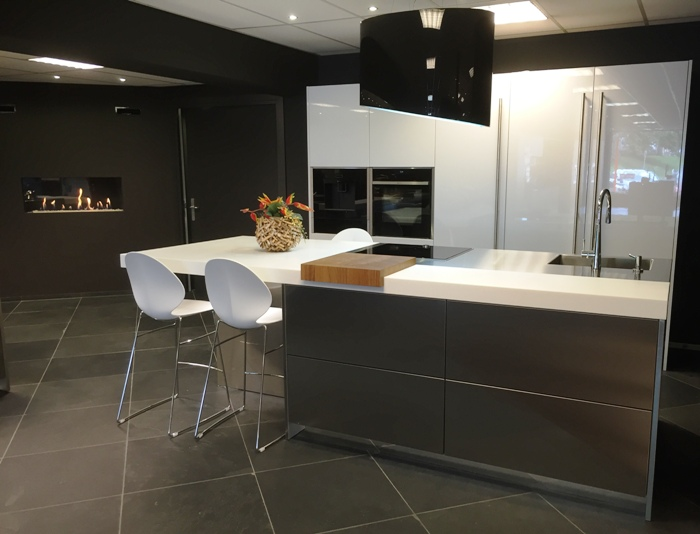 The S10 kitchen on display in the Snaidero showroom